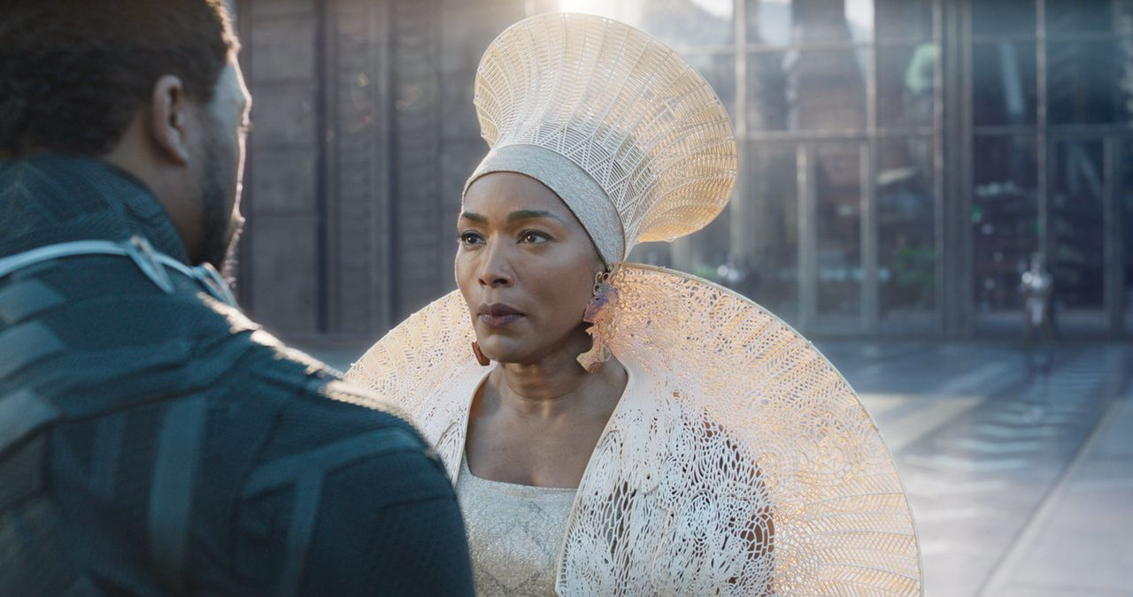 "Angela Bassett in ""Black Panther."""