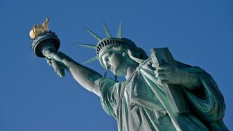 Statue of Liberty on the Hudson River in NYC.