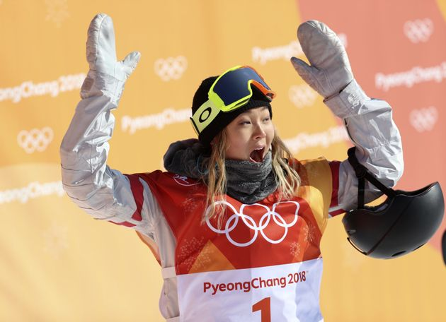 Chloe Kim of the U.S. reacts to her first run score at Phoenix Snow Park in Pyeongchang, South Korea, on Tuesday.