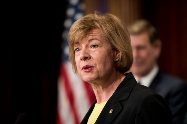 Sen. Tammy Baldwin (D-Wis.) speaks on April 25,