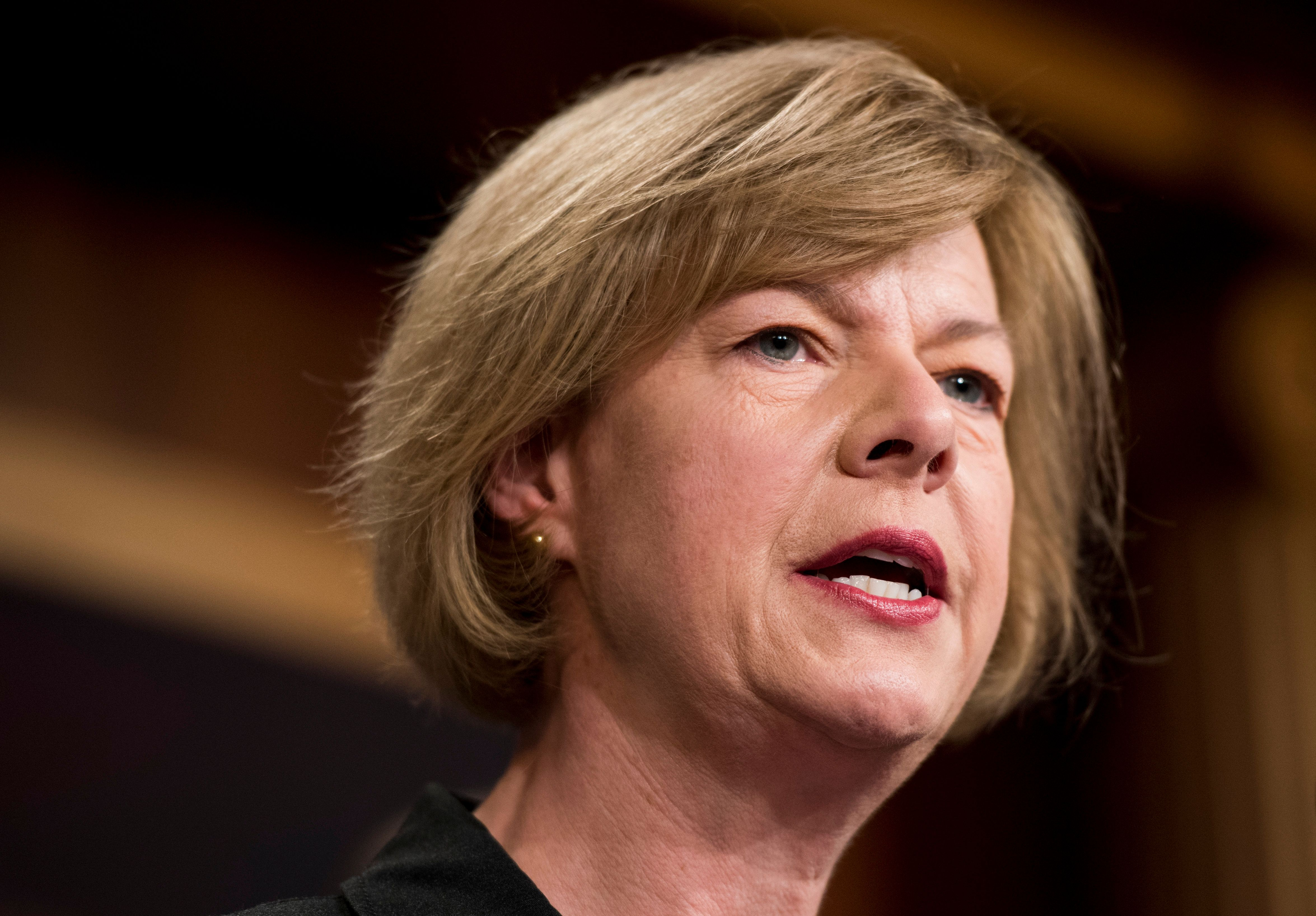 UNITED STATES - MAY 16: Sen. Tammy Baldwin, D-Wisc., speaks during a Senate Democrats' news conference on the impact of repealing the Affordable Care Act on the opioid epidemic on Tuesday, May 16, 2017. (Photo By Bill Clark/CQ Roll Call)