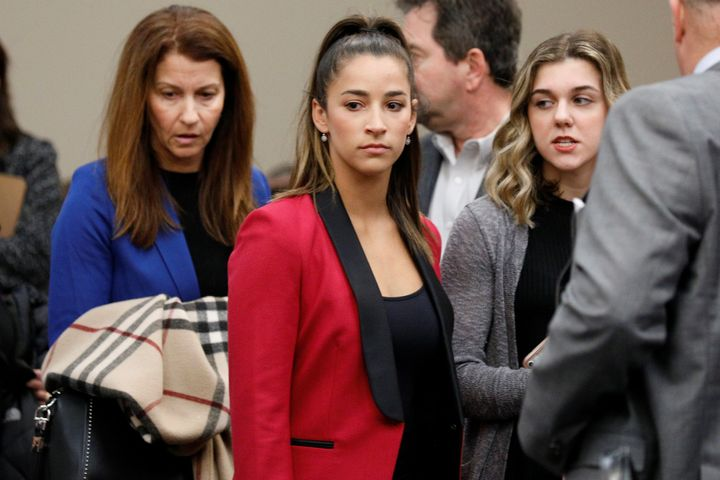Olympic gold medalist Aly Raisman appears before speaking at the sentencing hearing for Larry Nassar, a former team USA Gymna
