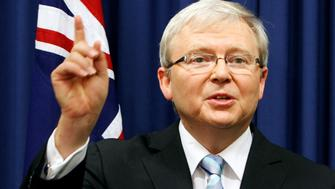 Australia's former Prime Minister Kevin Rudd, gestures at a news conference at the Commonwealth Parliamentary Offices in Brisbane, Australia February 24, 2012.    REUTERS/Renee Melides/File Photo