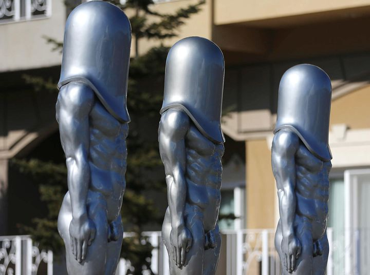 "The ""Bullet Men"" statues outside theAlpensia Ski Jump Center inPyeongchang."