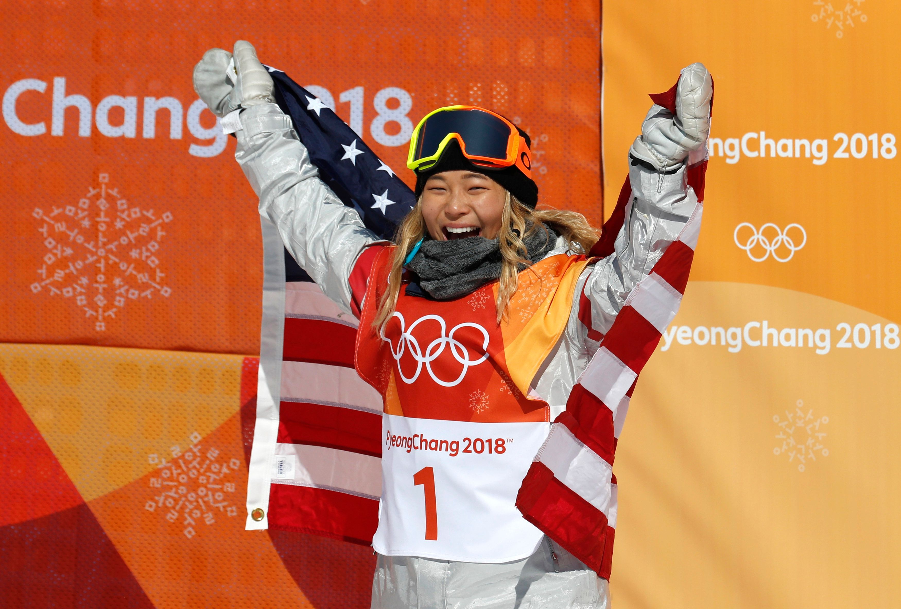 Snowboarding - Pyeongchang 2018 Winter Olympics - Women's Halfpipe Finals - Phoenix Snow Park - Pyeongchang, South Korea - February 13, 2018 - Chloe Kim of the U.S. celebrates her win. REUTERS/Jorge Silva