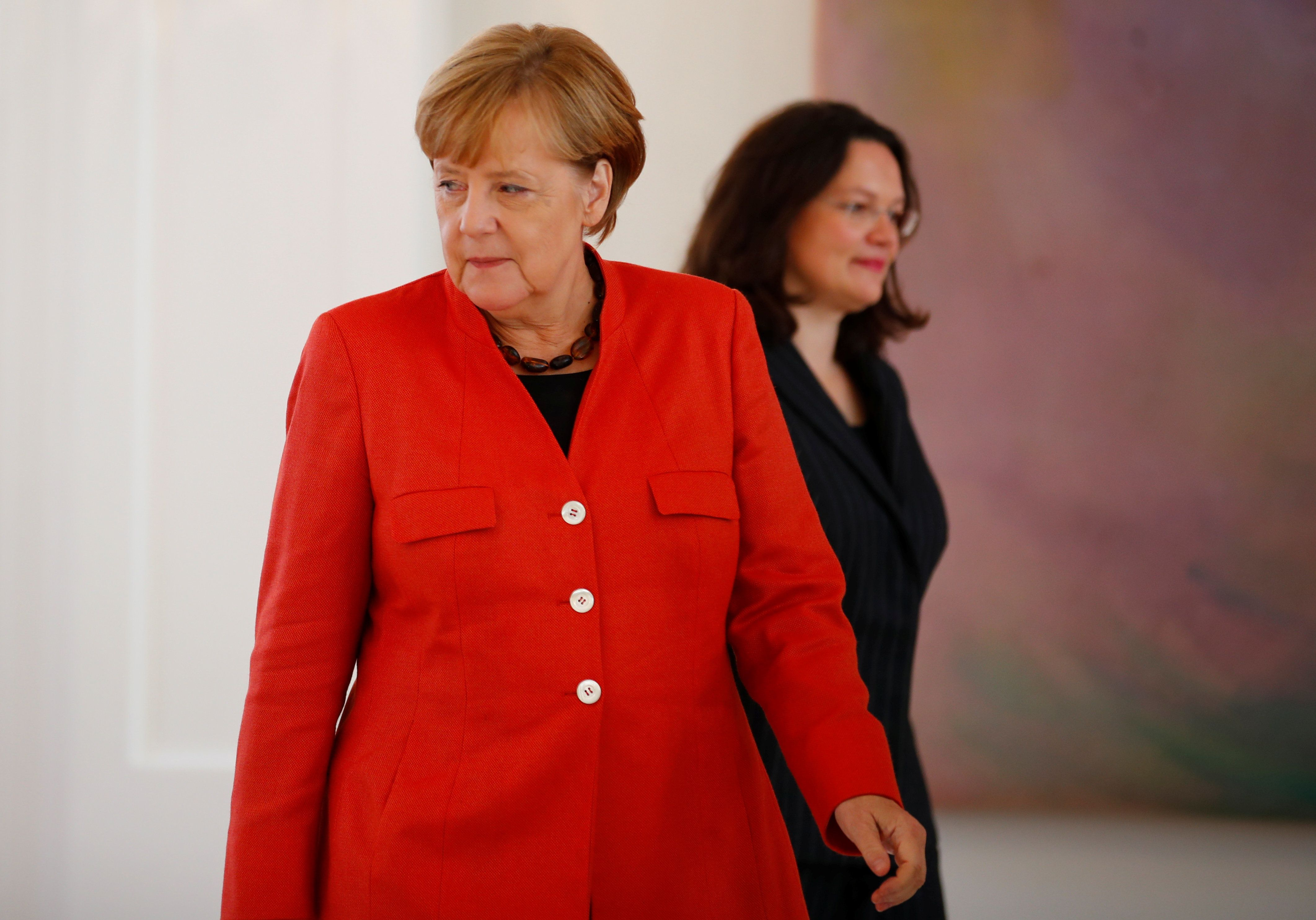 Kanzlerin Angela Merkel und SPD-Politikerin Andrea Nahles.