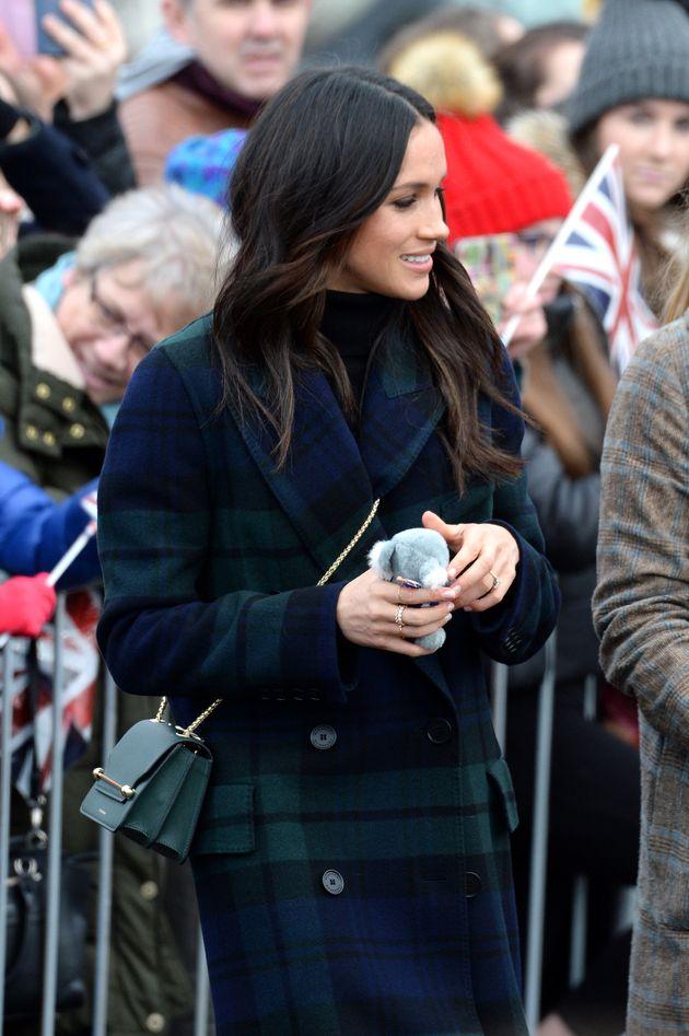Meghan Markle Wears Burberry Tartan Coat On Day Trip To Edinburgh With Prince