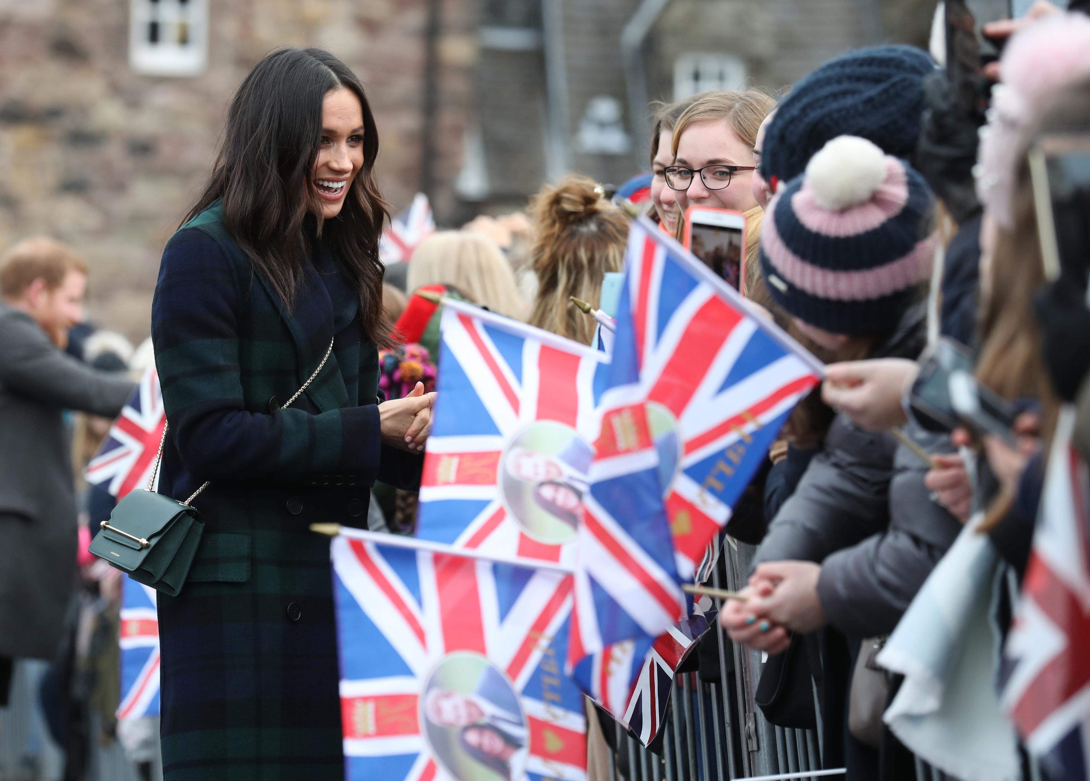 Meghan Markle Wears Burberry Tartan Coat On Day Trip To
