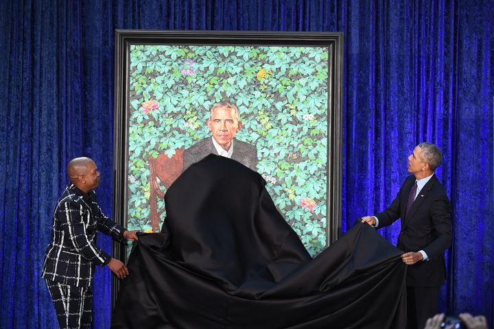 Artist Kehinde Wiley and former President Barack Obama unveil his presidential portrait.