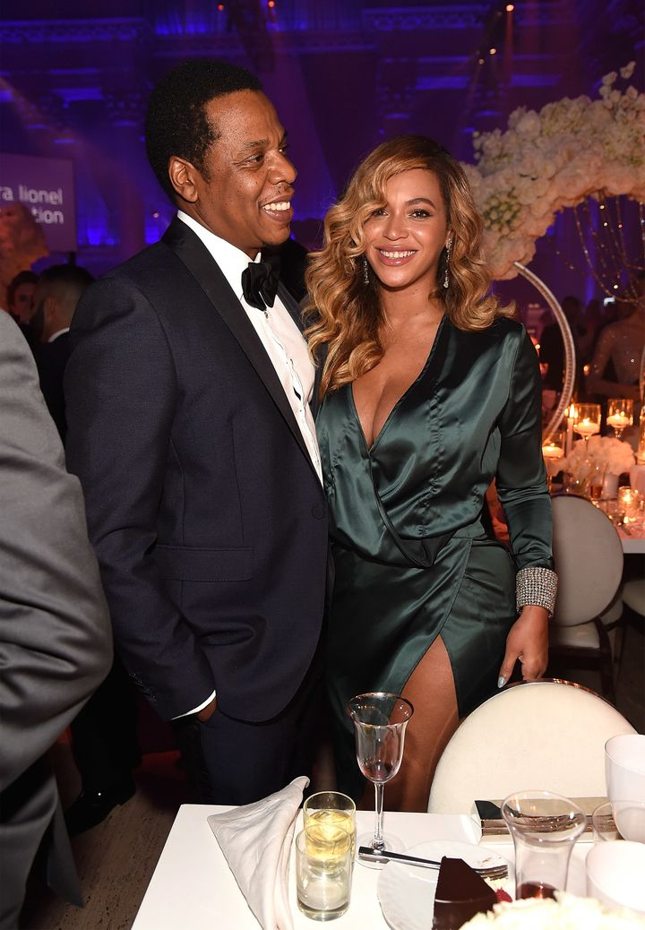 Jay-Z and Beyonce attend Rihanna's 3rd Annual Diamond Ball.