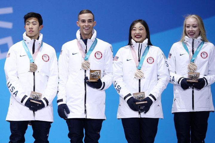 Nathan Chen, Adam Rippon, Mirai Nagasu and Bradie Tennell won bronze for Team USA in the figure skating team event.