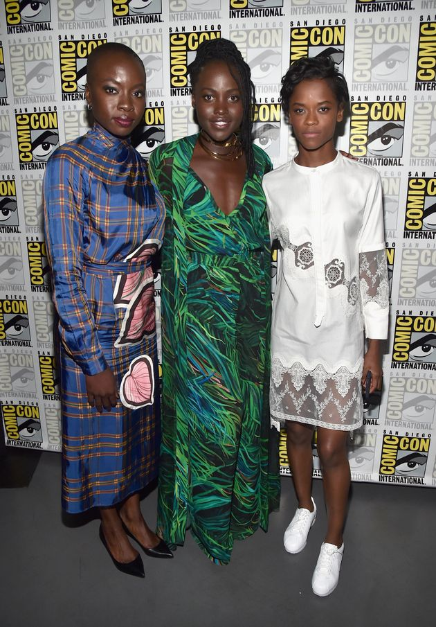Letitia with her co-stars Danai Gurira and Lupita