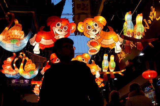 Lantern decorations for Chinese New Year in Yu Yuan Garden, in