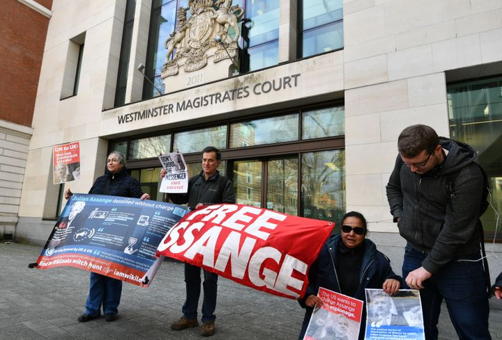 Julian Assange supporters outside Westminster Magistrates' Court last week