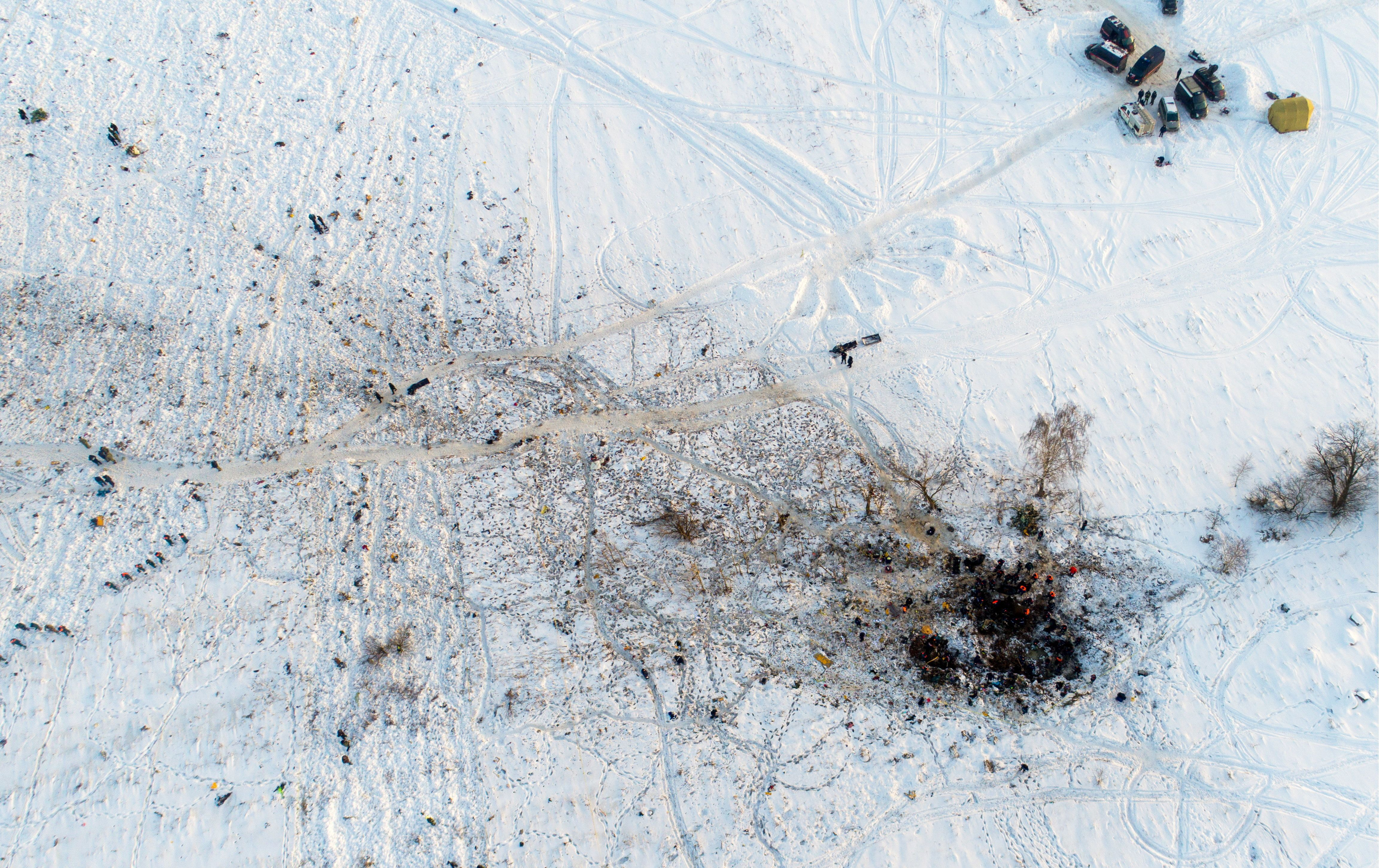<strong>An aerial view of the crash site, nearby to Domodedova International Airport</strong>