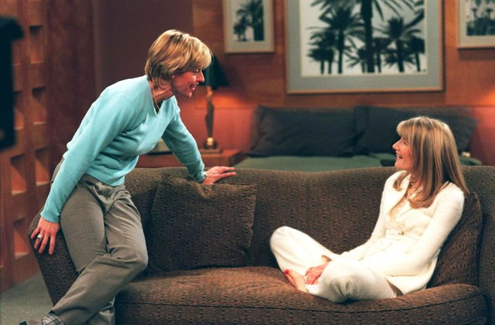 "Actresses Ellen DeGeneres and Laura Dern during the taping of ABC's ""Ellen."""