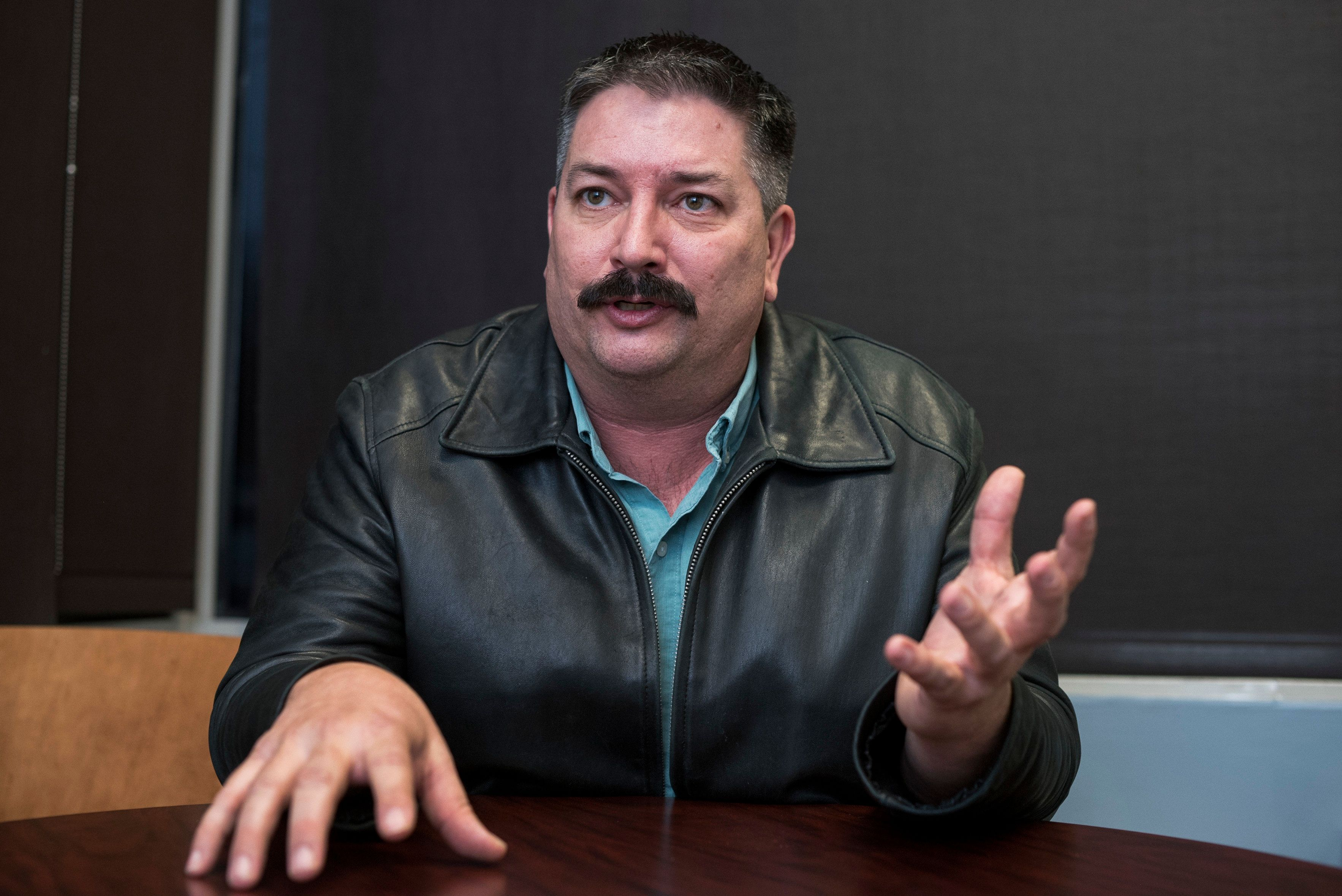 UNITED STATES - JANUARY 29: Randy Bryce, Democratic candidate for Wisconsins 1st Congressional District, is interviewed at the Democratic National Committee's headquarters on January 29, 2018. (Photo By Tom Williams/CQ Roll Call)