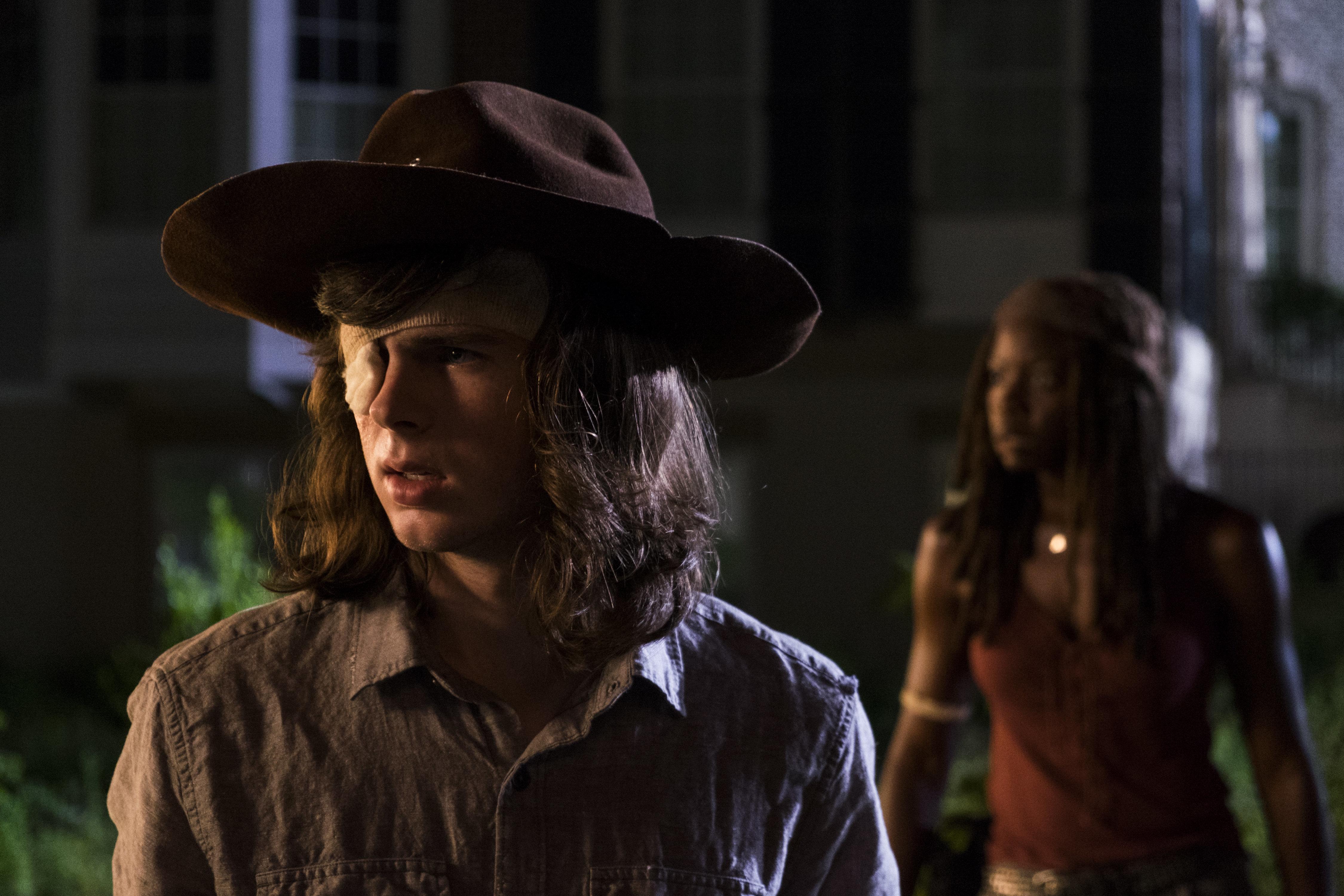 Chandler Riggs as Carl Grimes, Danai Gurira as Michonne - The Walking Dead _ Season 8, Episode 8 - Photo Credit: Gene Page/AMC