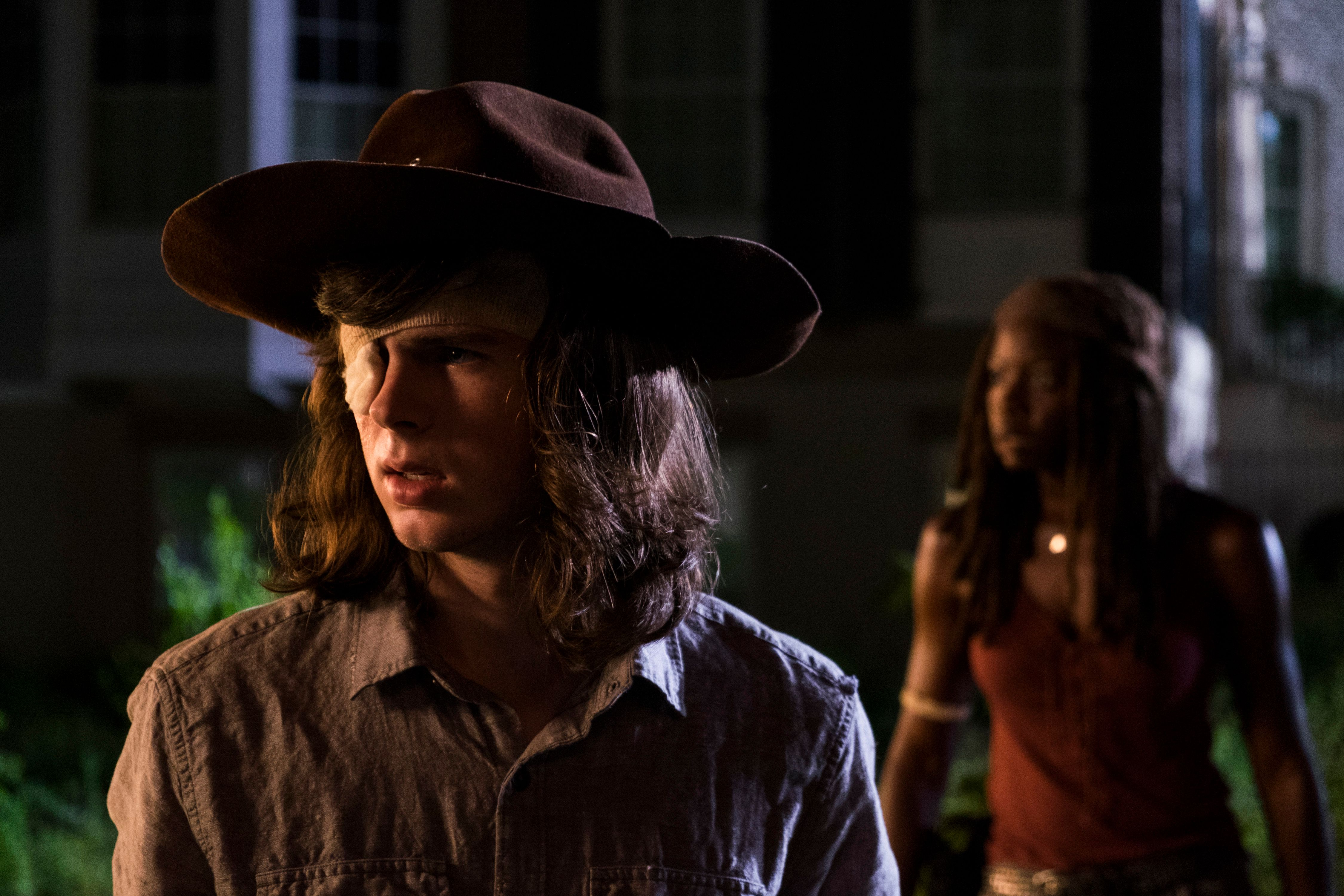 "Chandler Riggs and Danai Gurira on ""The Walking Dead."""