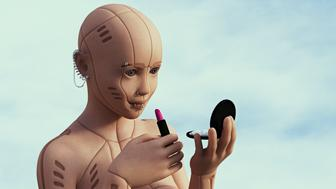 Robot woman with pierced face applying lipstick