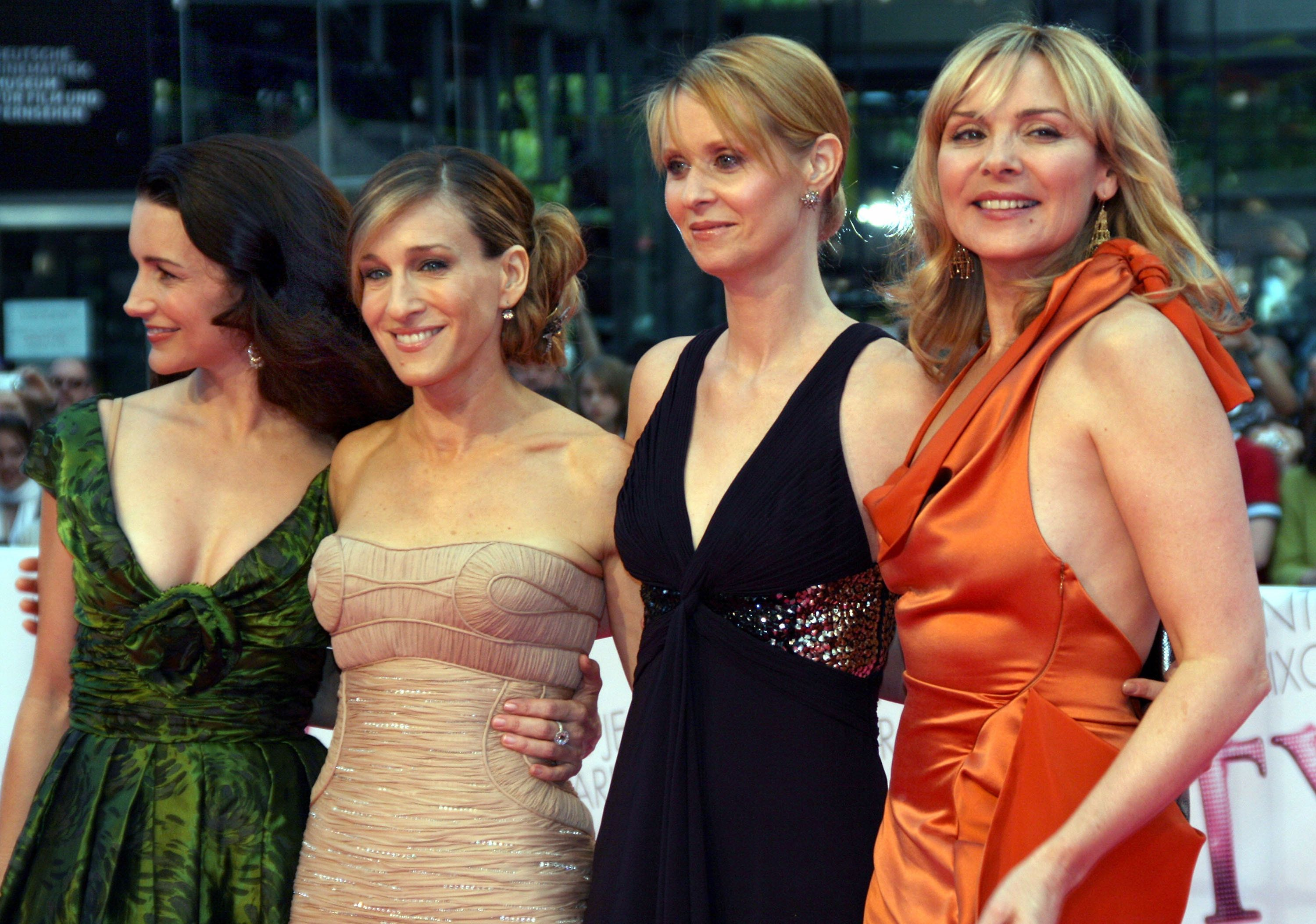 BERLIN - MAY 15:  Actresses Kristin Davis, Sarah Jessica Parker, Cynthia Nixon and Kim Catrall attendthe German premiere of 'Sex And The City' at the Cinestar movie theatre on May 15, 2008 in Berlin, Germany.  (Photo by Anita Bugge/WireImage)