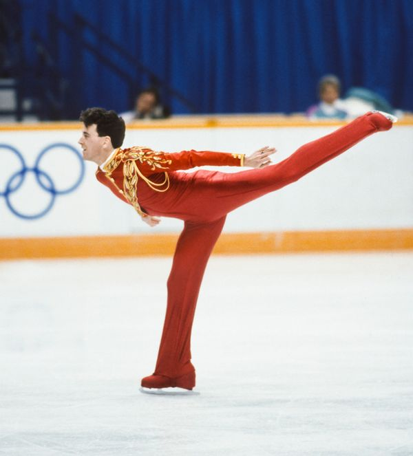 The Canadian skates in the final of the men's singles event of the 1988 Winter Olympic Games in Calgary, Canada, on Feb. 20.