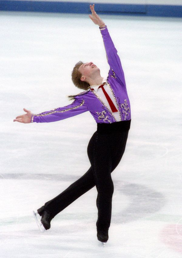The Ukrainian star performs his original program at the Winter Olympics on Feb. 13, 1992, in Albertville, France.