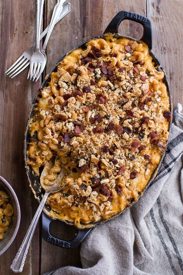 "<strong>Get the <a href=""https://www.halfbakedharvest.com/butternut-squash-brussels-sprouts-mac-n-cheese-buttery-bacon-ritz-c"