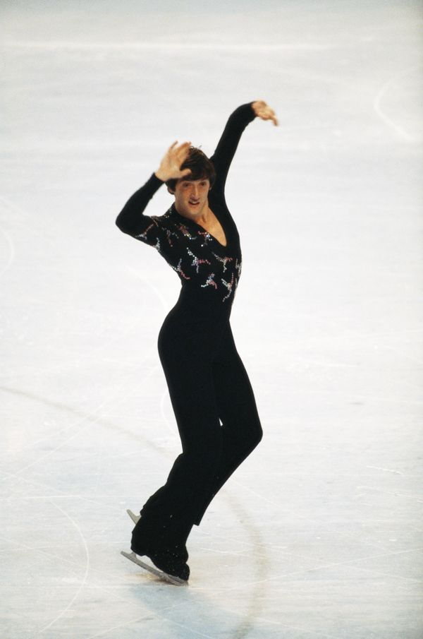 The British skater performs part of his gold medal routine during the free program of the men's figure skating event on