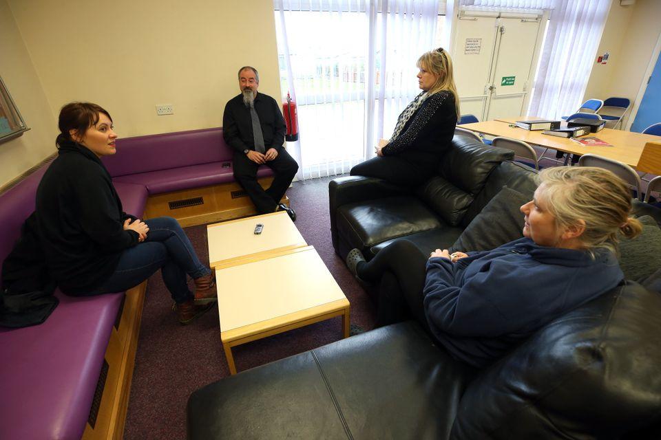 HuffPost UK reporter Rachel Wearmouth insideThorntree Community Hub with Gavin Rawlings, Linda...