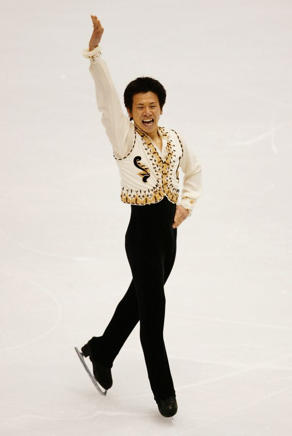 The Japanese figure skater performs his men's short program at the Winter Olympics in Salt Lake City, Utah.