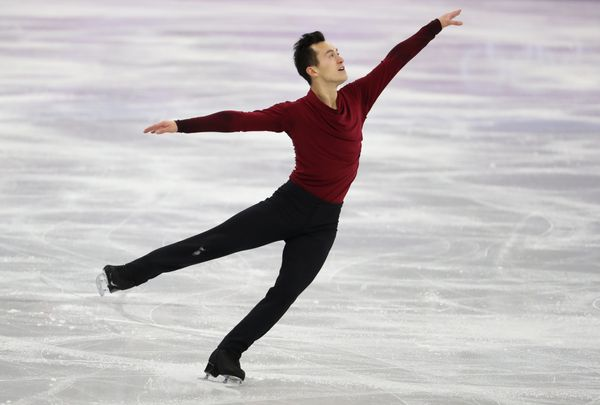 Competing for Canada in the men's free skating event during the figure skating team event of the Pyeongchang 2018 W
