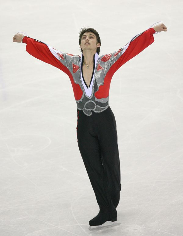 The French skater performs in the free skating program in Turin, Italy.