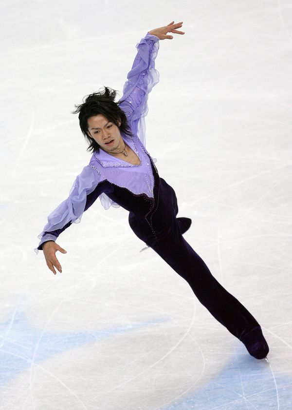 Japan's star performs in the men's free skating program in Turin, Italy.
