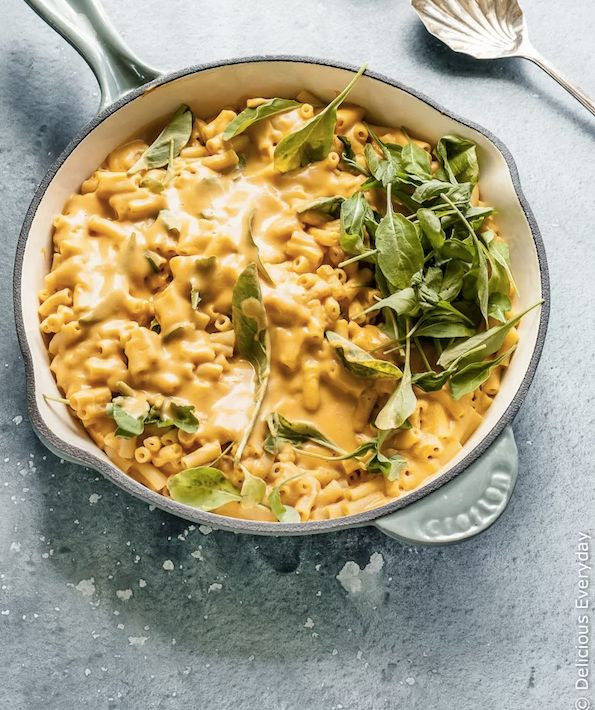 "<strong>Get the <a href=""https://www.deliciouseveryday.com/vegan-mac-cheese/"" target=""_blank"">Classic Vegan Mac And Cheese</a"