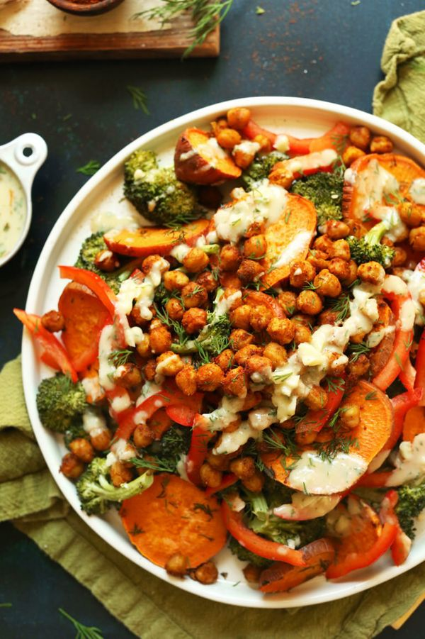 """<strong>Get the <a href=""""https://ohsweetbasil.com/broccoli-salad/"""" target=""""_blank"""">Roasted Broccoli Sweet Potato Chickpea Sal"""