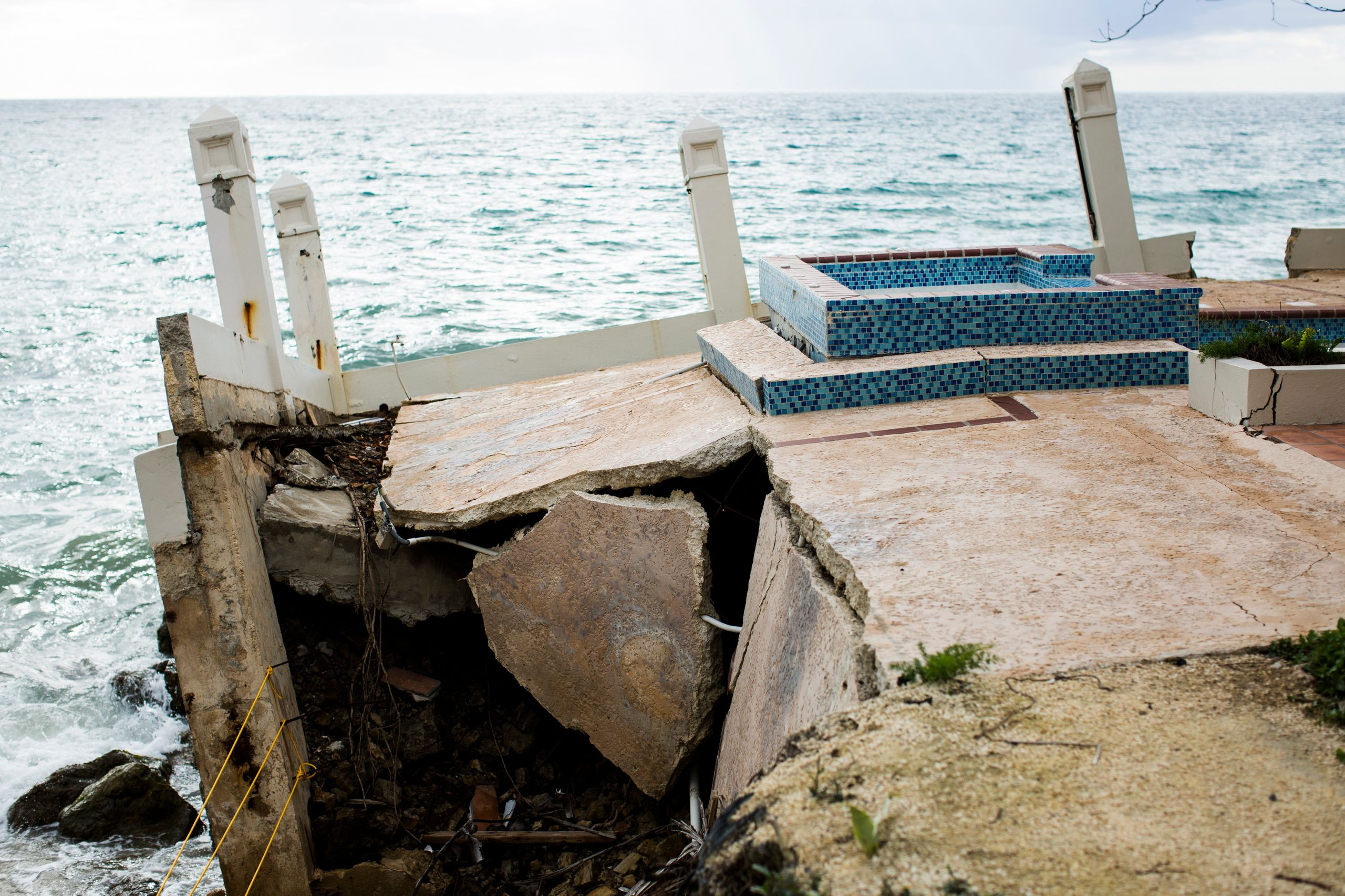 The front porch of the Tres Sirenas Beach Inn, destroyed by Hurricane Maria.