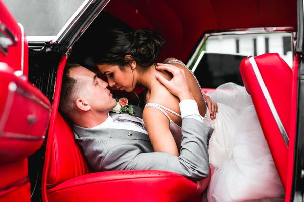"""The groom, Sean, asked a friend to borrow this classic car for the wedding. I'm sure this was a bit more than he bargained f"