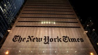 Nighttime view of the New York Times Building (at 620 Eighth Avenue), New York, New York, January 21, 2013. (Photo by Oliver Morris/Getty Images)