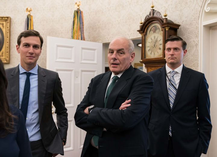 Jared Kushner, John Kelly and Rob Porter on Sept. 1, 2017.