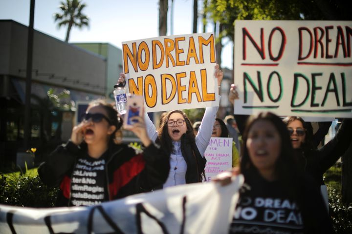 DACA recipients and their supporters call for renewal of the program outside Disneyland in Anaheim, California, on Jan. 22, 2