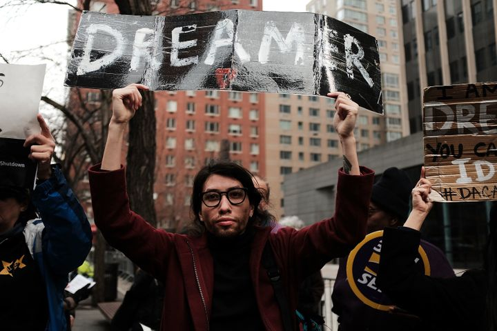 Demonstrators protest the government shutdown and the lack of a deal on DACA in New York City on Jan. 22, 2018.