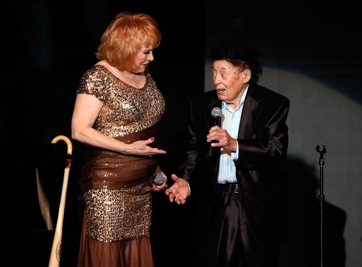 Marty Allen (right) and his wife, Karon Kate Blackwell, during a March 2017 show celebrating Allen's 95th birthday in Las Veg