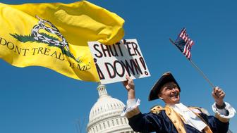 UNITED STATES Ð APRIL 6: Tea party activist John Oltesvig, of North Carolina, wears a colonial costume with a tri-corner hats as he participates in the rally at the Capitol on Wednesday, April 6, 2012, days before a possible federal government shutdown. (Photo By Bill Clark/Roll Call)