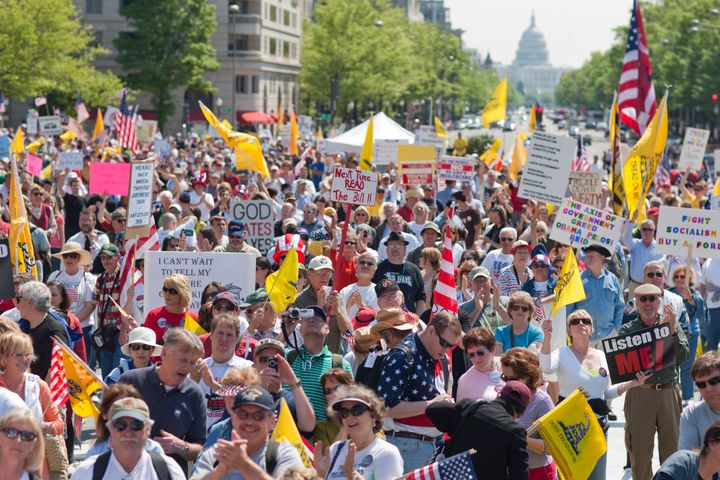 Anti-Obama tea party activists protest tax policy in Washington, D.C.