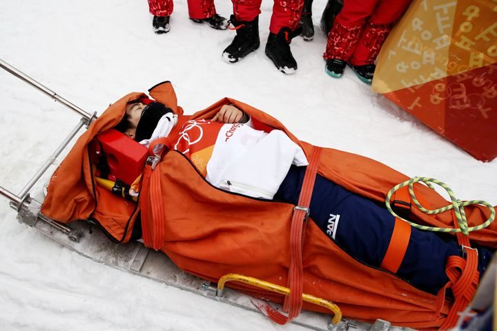 Yuto Totsuka, 16,appeared to collide heavily on the lip of the halfpipe during his run.