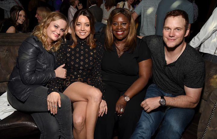 "Amy Poehler, Aubrey Plaza, Retta, and Chris Pratt at the premiere of ""Ingrid Goes West."""