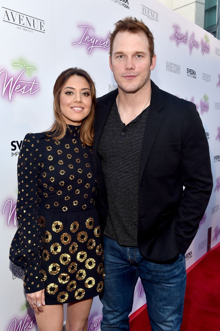 """Aubrey Plaza and Chris Pratt at the premiere of """"Ingrid Goes West."""""""