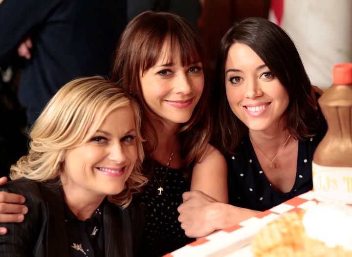 "Amy Poehler, Rashida Jones and Aubrey Plaza pictured at the ""Parks and Recreation"" 100th episode celebration."