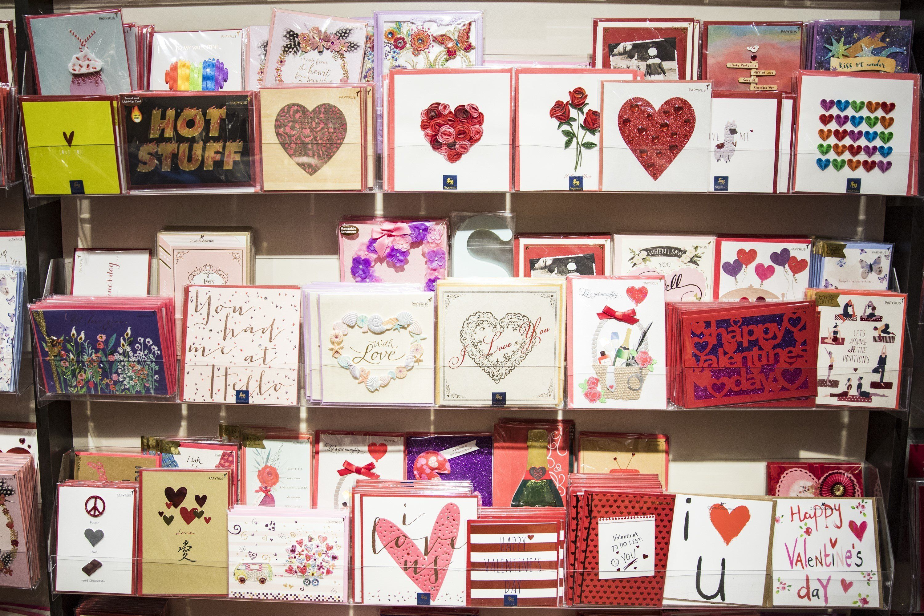 WASHINGTON, USA - FEBRUARY 13: Valentines Day cards are on display in a store in Union Station the day before Valentines Day in Washington, USA on February 13, 2018. (Photo by Samuel Corum/Anadolu Agency/Getty Images)